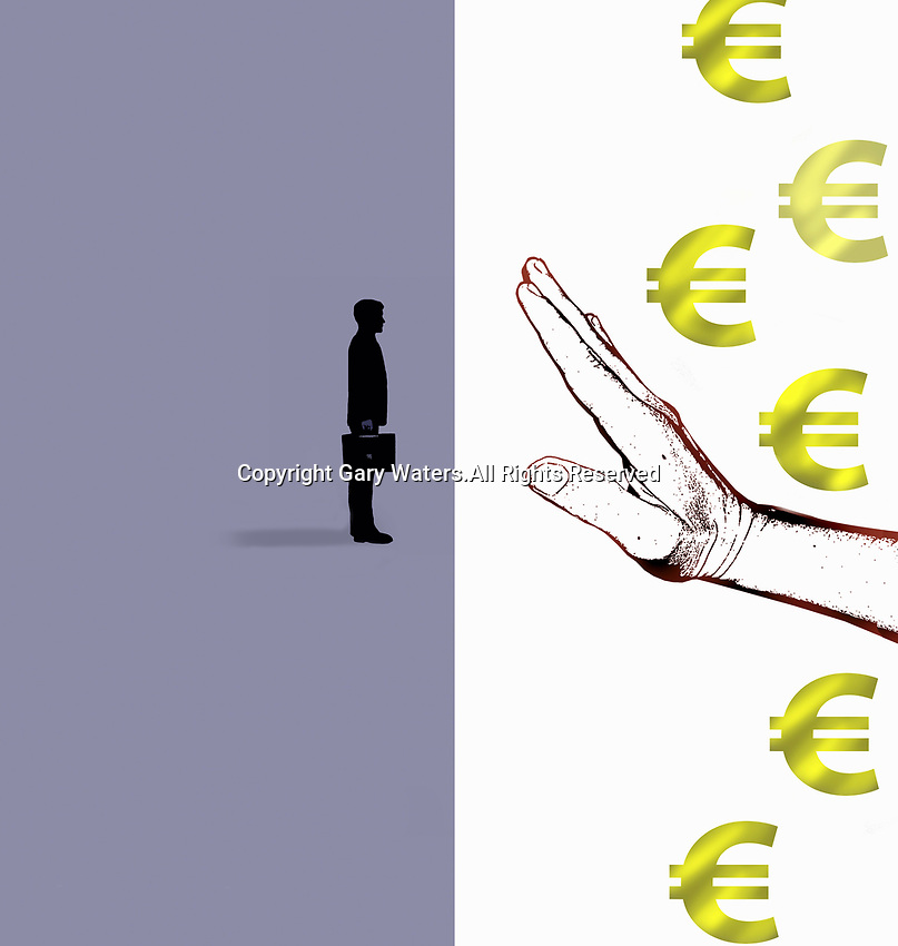 Hand denying businessman access to euros
