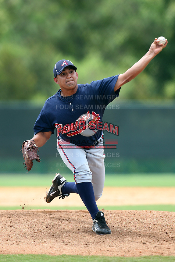 GCL Braves pitcher Alexis Pinto #87 delivers a pitch during a game against the GCL Pirates at Disney Wide World of Sports on June 25, 2011 in Kissimmee, Florida.  The Pirates defeated the Braves 5-4 in ten innings.  (Mike Janes/Four Seam Images)