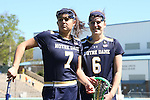 03 April 2016: Notre Dame's Danielle Lukish (7) and Stephanie Toy (6). The University of North Carolina Tar Heels hosted the University of Notre Dame Fighting Irish in a 2016 NCAA Division I Women's Lacrosse match. Maryland won the game 14-8.