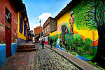 Colombia, Bogota, Callejon del Embudo or 'Funnel Alley', Oldest and Narrowest Stone Made Street In Bogota, El Chorro de Quevedo (where Bogota was founded)