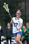 22 February 2015: Duke's Devon Russell. The Duke University Blue Devils hosted the College of William & Mary Tribe on the West Turf Field at the Duke Athletic Field Complex in Durham, North Carolina in a 2015 NCAA Division I Women's Lacrosse match. Duke won the game 17-7.