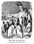 """The Start for the Pole. The Antarctics. """"Great Scott, they're off!"""" [The Terra Nova is announced to sail from London on the South Polar Expedition on June 1.] (an Edwardian era cartoon of penguins looking with their binoculars while standing on the edge of an ice float)"""