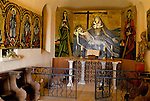 Bernard Buffet French artist expressionist painter (1928-1999) France Circa 1995. Interior of private chapel at his home in Tourtour Provence France. 1994.