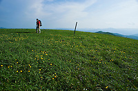 Backpacker hiking on the Appalachian Trail at Max Patch, North Carolina