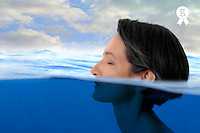 Half woman's head out of water,  half underwater (Licence this image exclusively with Getty: http://www.gettyimages.com/detail/103627277 )