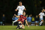 13 November 2015: Liberty's Alyssa Hill (11) traps the ball in front of North Carolina's Annie Kingman (7). The University of North Carolina Tar Heels hosted the Liberty University Flames at Fetzer Field in Chapel Hill, NC in a 2015 NCAA Division I Women's Soccer game. UNC won the game 3-0.