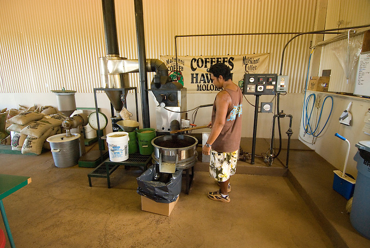 Hawaii: Molokai, coffee roasting experienced during Coffees of Hawaii tour..Photo himolo245-72475..Photo copyright Lee Foster, www.fostertravel.com, lee@fostertravel.com, 510-549-2202
