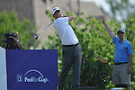 Harrison Frazar tees off on the 18th hole at the PGA FedEx St. Jude Classic at TPC Southwind in Memphis, Tenn. on Sunday, June 12, 2011. Harrison Frazar won the tournament on the third playoff hole against Robert Karlsson. The victory was Frazar's first ever on the PGA tour.