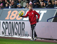 BOLTON, ENGLAND - Saturday, January 26, 2013: A Bolton Wanderers' ball-boy returns the ball to Everton during the FA Cup 4th Round match at the Reebok Stadium. (Pic by David Rawcliffe/Propaganda)