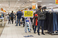 Checkout line at the soon to be closing Sears store in Rego Park in the New York borough of the Queens on Saturday, February 18, 2017. Sears Holdings has deemed the store unprofitable and it will be closing sometime in April. The store is one of the 42 stores they will close in the spring. Sears is also closing 108 Kmart stores. (© Richard B. Levine)