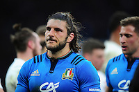 Giovanbattista Venditti of Italy leaves the field after the match. RBS Six Nations match between England and Italy on February 26, 2017 at Twickenham Stadium in London, England. Photo by: Patrick Khachfe / Onside Images