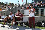 09 November 2008: Virginia Tech head coach Kelly Cagle (right) with associate head coach Charles Adair (center) and assistant coach Matt Gwilliam (left). The University of North Carolina Tarheels defeated the Virginia Tech University Hokies 3-0 at WakeMed Stadium at WakeMed Soccer Park in Cary, NC in the women's ACC tournament championship game.