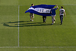 FC Halifax Town 1 Mickleover Sports 1, 23/04/2011. The Shay, Northern Premier League. Home supporters with a banner leaving the pitch at The Shay, home of FC Halifax Town (in blue), on the day that they were presented with the Northern Premier League Premier Division championship trophy following their match with Mickleover Sports, which ended in a 1-1 draw in front of a crowd of 2,404. The club replaced Halifax Town A.F.C. who went into administration during the 2007–08 season, having previously been members of the Football League for 80 years. Their promotion meant they would play in Conference North in the 2011-12 season. Photo by Colin McPherson.