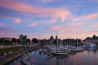 Inner harbor sunset. Victoria, Vancouver island, British Columbia, Canada
