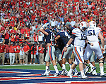 Ole Miss defensive back Brishen Mathews (13) celebrates Ole Miss defensive end C.J. Johnson's (10) touchdown vs. Auburn at Vaught-Hemingway Stadium in Oxford, Miss. on Saturday, October 13, 2012. ..