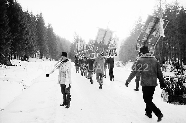 Moldavia, Romania<br /> January 1992<br /> <br /> Funeral procession.