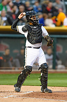 Francisco Arcia (5) of the Salt Lake Bees on defense against the Sacramento River Cats in Pacific Coast League action at Smith's Ballpark on April 11, 2017 in Salt Lake City, Utah. The River Cats defeated the Bees 8-7. (Stephen Smith/Four Seam Images)