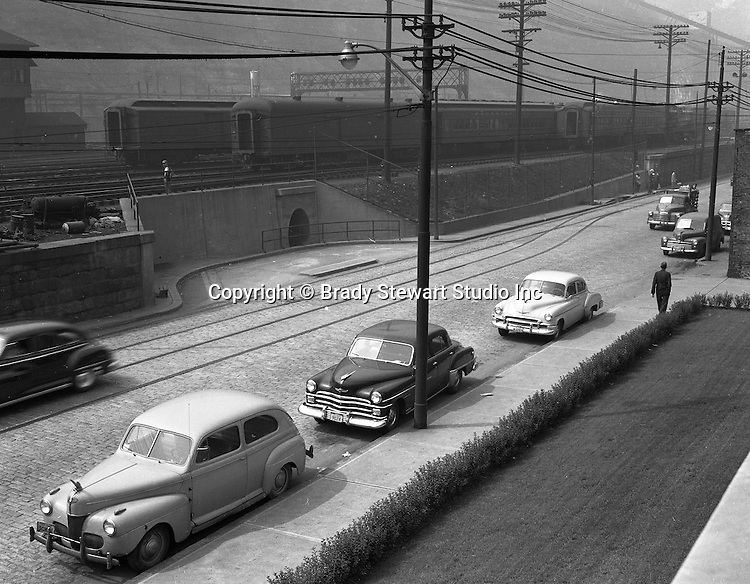 Pittsburgh PA - Location photography for Railway Express; accident site on Liberty Avenue and 22nd Street in the Strip District near the Railway Express offices - 1951.  Railway Express was a door-to-door package delivery company in Pittsburgh, similar to UPS and FedX Ground.