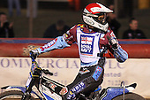 Heat 14: Piotr Swiderski of Lakeside celebrates victory - Lakeside Hammers vs Wolverhampton Wolves - Elite League Speedway at Arena Essex Raceway - 16/05/11 - MANDATORY CREDIT: Gavin Ellis/TGSPHOTO - Self billing applies where appropriate - Tel: 0845 094 6026