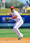 12 March 2011: Washington Nationals' infielder Ian Desmond makes a play to first during a Spring Training game against the New York Yankees at Space Coast Stadium in Viera, Florida. The Nationals edged out the Yankees 6-5 in Grapefruit League action. Mandatory Credit: Ed Wolfstein Photo