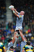 Matt Garvey of Bath Rugby wins the ball at a lineout. Aviva Premiership match, between Northampton Saints and Bath Rugby on September 3, 2016 at Franklin's Gardens in Northampton, England. Photo by: Patrick Khachfe / Onside Images