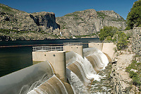Hetch Hetchy dam is huge and is a spectacular sight to visit. Built in July 1923, and at that time was the largest single structure on the West Coast, it rises 430 feet high and spans 900 feet. The dam holds the water from the Hetch Hetchy Reservoir, which is the water supply for the San Francisco area. The water can be released through 14 outlets to control the water levels.<br /> <br /> wcities/record/,305200/601/record