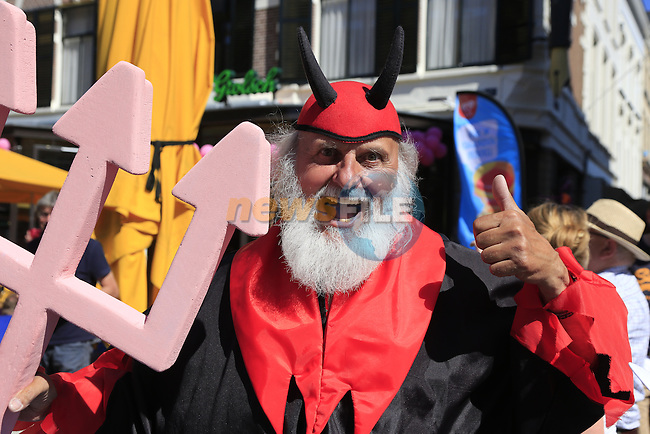 Didi the devil makes an appearance in Nijmegen the start city for Stage 3 of the 2016 Giro d'Italia running 190km from Nijmegen to Arnhem, The Nethrerlands. 8th May 2016.<br /> Picture: Eoin Clarke | Newsfile<br /> <br /> <br /> All photos usage must carry mandatory copyright credit (&copy; Newsfile | Eoin Clarke)