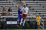 11 September 2015: Virginia's Riggs Lennon (12) and Duke's Jared Rist (8). The Duke University Blue Devils hosted the University of Virginia Cavaliers at Koskinen Stadium in Durham, NC in a 2015 NCAA Division I Men's Soccer match. The game ended in a 2-2 tie after overtime.