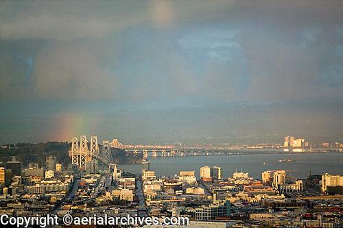 aerial photograph rainbow Bay Bridge San Francisco, California