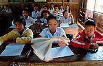 Students working hard in class in a school in Savannakhet province, Laos.