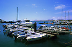 Corralejo harbour showing boats and yachts at their moorings.Fuerteventura, Canary Islands.