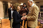 April 16, 2014. Durham, North Carolina.<br />  Senator Kay Hagan, left, spoke with Bill Jeffries after an event to award a posthumous Bronze Star. Hagan has been largely absent from the campaign trail even as several Republican challengers have mounted campaigns to defeat her in this year's election.<br />  Kay Hagan (D),  US Senator from North Carolina, attended an event to honor the military service of Donald &quot;Buddy&quot; Moore, Hagan awarded Moore's widow Wanda a posthumous Bronze Star, as well as several other medals, for his service in World War II.
