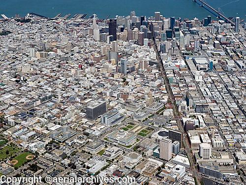 aerial photograph Civic Center Market Street San Francisco, California