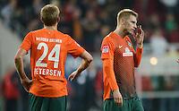 FUSSBALL   1. BUNDESLIGA  SAISON 2012/2013   7. Spieltag FC Augsburg - Werder Bremen          05.10.2012 Nils Petersen, Aaron Hunt (v. li., SV Werder Bremen)