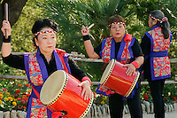 Okinawan dancers perform during the grand re-opening of the Jingu House, Sunday, Oct. 22, 2011, at the Japanese Tea Garden in San Antonio, Texas, USA. (Darren Abate/pressphotointl.com)