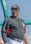10 March 2015: Miami Marlins assistant hitting coach Lenny Harris watches batting practice prior to a Spring Training game against the Washington Nationals at Roger Dean Stadium in Jupiter, Florida. The Marlins edged out the Nationals 2-1 on a walk-off solo home run in the 9th inning of Grapefruit League play. Mandatory Credit: Ed Wolfstein Photo *** RAW (NEF) Image File Available ***