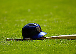 11 April 2006: New York Met David Wright's batting helmet and bat lie on the infield grass prior to the Nationals' Home Opener at RFK Stadium, in Washington, DC. The Mets defeated the Nationals 7-1 to maintain their early lead in the NL East...Mandatory Photo Credit: Ed Wolfstein Photo..