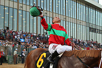 HOT SPRINGS, AR - MARCH 18: Jockey Javier Castellano celebrates aboard Malagacy #6 after winning the Rebel Stakes race at Oaklawn Park on March 18, 2017 in Hot Springs, Arkansas. (Photo by Justin Manning/Eclipse Sportswire/Getty Images)