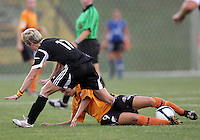 BOYDS, MARYLAND-JULY 07,2012:  Joanna Lohman (17) of DC United Women tangles with Larissa Najjar (9) of Dayton Dutch Lions during a W League game at Maryland Soccerplex, in Boyds, Maryland. DC United women won 4-1.