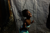 Port Au Prince, Haiti, April 13, 2010.Ludmilla, 7..The Acra IDP camp near Delmas 32 is built in a flashflood prone valley, which will make life very difficult for hundreds of people as the rainy season approaches..