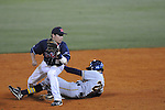 Murray State's Bryan Propst (20) is safe at second on a force attempt as Mississippi's Alex Yarbrough takes the throw at Oxford-University Stadium in Oxford, Miss. on Tuesday, April 27, 2010. Ole MIss won 11-10 in 10 innings after blowing a 10-1 lead.