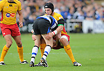 Luke Charteris stops Alex Crockett. Bath V Newport Gwent Dragons, Heineken Cup Pool 5  © Ian Cook IJC Photography iancook@ijcphotography.co.uk www.ijcphotography.co.uk