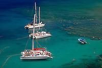 Snorkel catamarans at anchor in Honolua Bay Marine Preserve, Kapalua, Maui