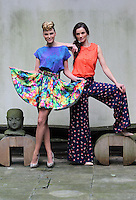 ***NO REPRODUCTION FEE PICTURE***.01/02/12 Models Sarah Morrissey wears a Printed Blue Skater Skirt at EUR35 and a Blue Animal Print Top at EUR35 and Karen Fitzpatrick wears an Orange Broderie Anglaise Blouse at EUR35 and a Floral Palazzo Pants at EUR45 pictured at the Morrison Hotel, Dublin this morning at the launch of the A Wear Spring Collection 2012...Picture Colin Keegan, Collins, Dublin. .***NO REPRODUCTION FEE PICTURE***