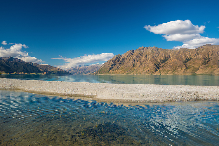 Summer view across, Lake Hawea towards Corner & Dingle Peaks. South Island, New Zealand- stock photo, canvas, fine art print
