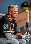 1 March 2017: Miami Marlins infielder Miguel Rojas sits ready in the dugout prior to facing the Houston Astros at the Ballpark of the Palm Beaches in West Palm Beach, Florida. The Marlins defeated the Astros 9-5 in Spring Training, Grapefruit League play. Mandatory Credit: Ed Wolfstein Photo *** RAW (NEF) Image File Available ***