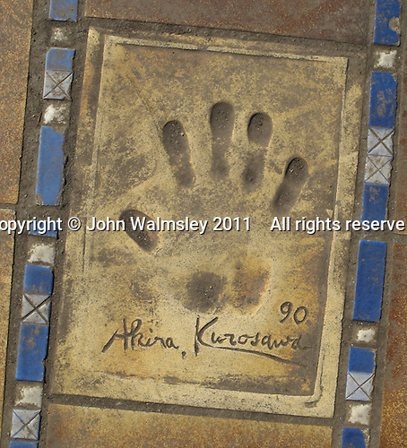Hand print of the film director, Akira Kurosawa, outside the Palais des Festivals et des Congres, Cannes, France.