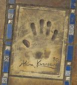 Hand print of the film director, Akira Kurosawa, outside the Palais des Festivals et des Congres, Cannes, France.