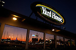 Shoreline Marina sunset reflected in the windows at the Yard House at Shoreline Village, Long Beach, CA