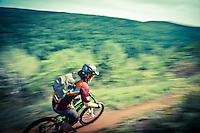 Mountain bikers ride the On the Edge trail in Copper Harbor Michigan.